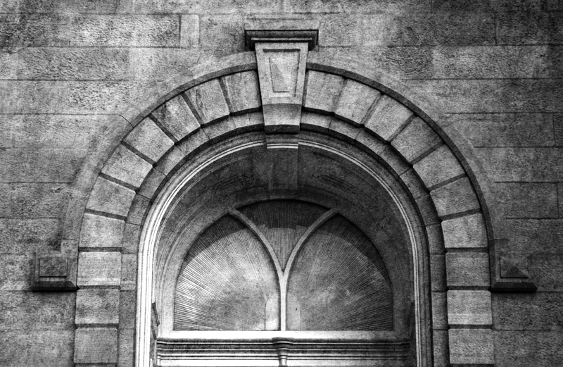 Manti Temple Arched Window Monochrome