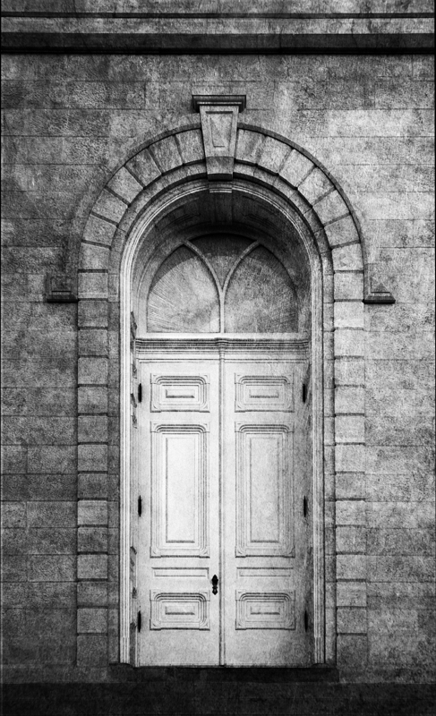 Manti Temple Door Monochrome